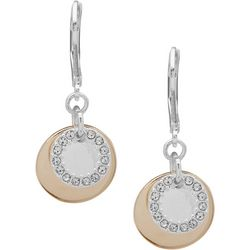 Nine West Two Tone Layered Disc Drop Earrings