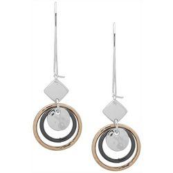 Nine West Tri Tone Disc & Ring Drop Earrings