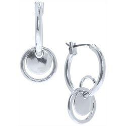 Nine West Silver Tone Small Hoop Disc Drop Earrings