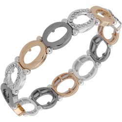 Nine West Tri Tone Oval Link Stretch Bracelet