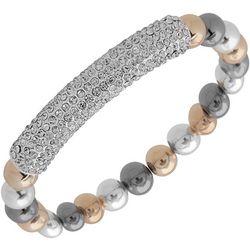 Nine West Tri Tone Bead & Rhinestone Bar Bracelet