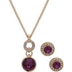 Nine West Purple Rhinestone Drop Necklace Set