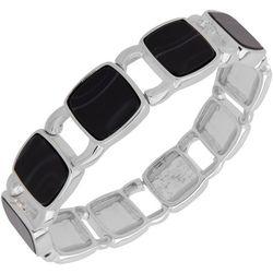 Nine West Black Square Link Stretch Bracelet