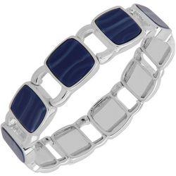 Nine West Blue Square Link Stretch Bracelet