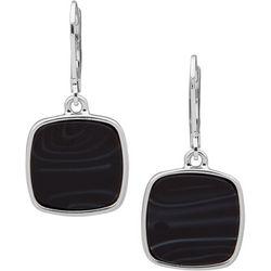 Nine West Black Square Leverback Drop Earrings