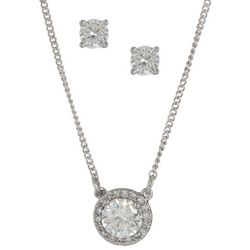 Nine West CZ Halo Silver Tone Necklace Set