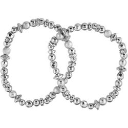 Nine West Rhinestone Silver Tone Bracelet Set