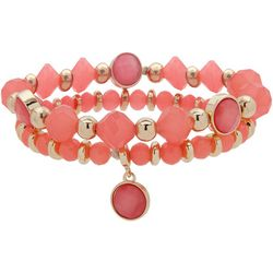 Nine West 2 Pc Coral Beaded Stretch Bracelet Set