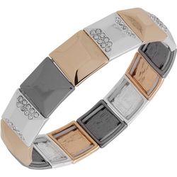 Nine West Tri Tone Square Link Stretch Bracelet