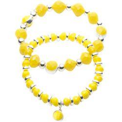 Nine West 2 Pc Yellow Beaded Stretch Bracelets