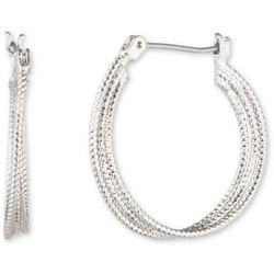 Nine West Silver Tone Twist Hoop Earrings