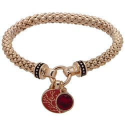Nine West Gold Tone Coral Charm Stretch Bracelet
