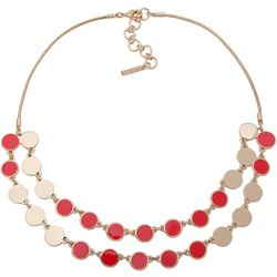 Nine West Coral Double Disc Frontal Necklace