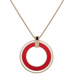 Nine West Adjustable Coral Double Ring Necklace