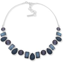 Nine West Garden Games Blue Multi Front Necklace