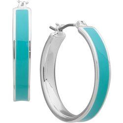 Nine West Turquoise Blue Click It Hoop Earrings