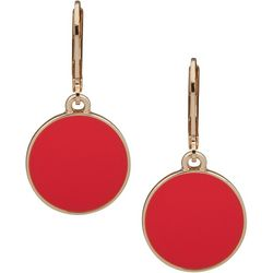 Nine West Coral Pink Round Leverback Drop Earrings