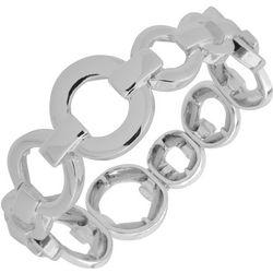Nine West Silver Tone Ring Link Stretch Bracelet