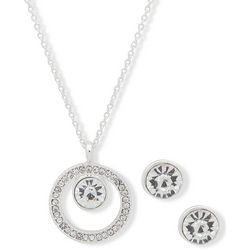 Nine West Clear Rhinestone Ring Pendant Necklace & Stud Set