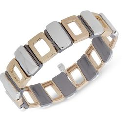 Nine West Tri-Tone Rectangle Link Stretch Bracelet