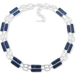 Nine West Blue Rectangle Bead Necklace