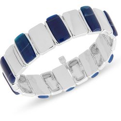 Nine West Blue & Silver Tone Stretch Bracelet
