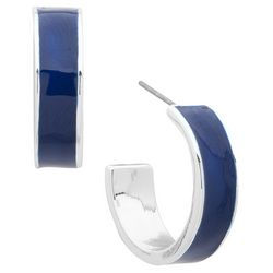Nine West Small Blue Denim Enamel Post Top Hoop Earrings
