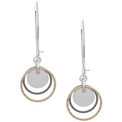 Nine West Long Tri Tone Multi Ring Dangle Earrings
