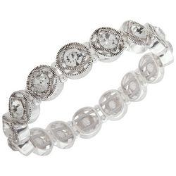 Nine West Rhinestone Round Link Stretch Bracelet