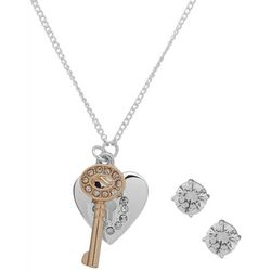 Nine West Boxed Heart & Key Pendant & Earring Set