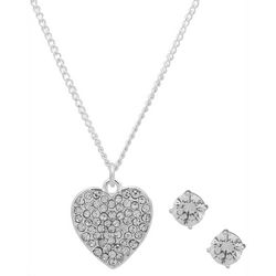 Nine West Rhinestone Heart Pendant & Earring Set