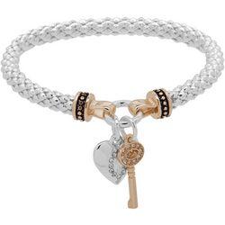 Nine West Two Tone Key & Heart Charm Bracelet