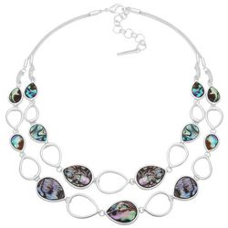 Nine West Two Row Abalone Shell Teardrop Front Necklace