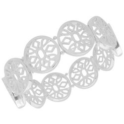 Nine West Silver Tone Round Flowers Stretch Bracelet