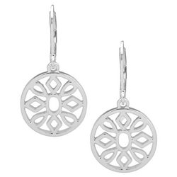 Nine West Silver Tone Cutout Disc Drop Earrings