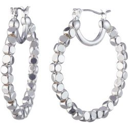 Nine West Silver Tone Beaded Hoop Earrings