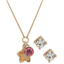 Nine West Gold Tone Flower & Stone Pendant Necklace Set