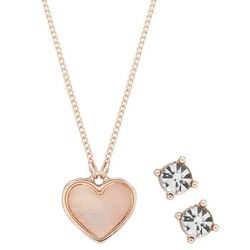 Nine West Rose Gold Tone Heart Pendant Necklace Set