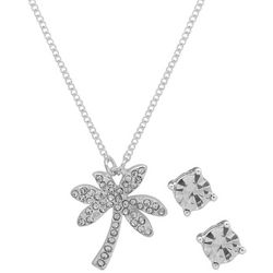 Nine West Silver Tone Palm Tree Pendant Necklace Set