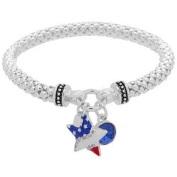 Nine West Patriotic Star Charm Silver Tone Stretch Bracelet