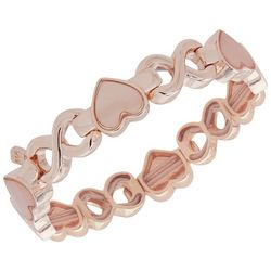 Nine West Rose Gold Tone Heart & Infinity Stretch Bracelet
