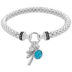 Nine West Palm Tree Charm Silver Tone Stretch Bracelet