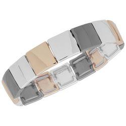 Nine West Tri Tone Squares Stretch Bracelet