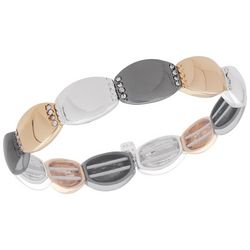 Nine West Tri Tone Oblong Disc Stretch Bracelet