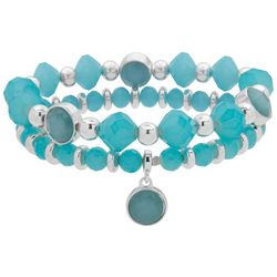 Nine West Aque Blue Beads & Silver Tone Bracelet Set