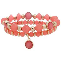 Nine West Coral Pink Beads & Gold Tone Bracelet Set