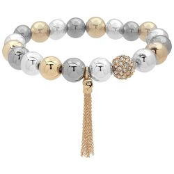 Nine West Tri Tone Ball Bead Chain Tassel Bracelet