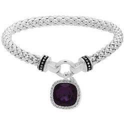 Nine West Purple Stone Silver Tone Mesh Stretch Bracelet
