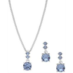 Nine West Blue Crystal Elements Necklace & Earring Set