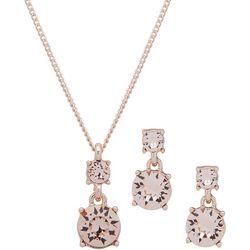Nine West Pink Glass & Rose Gold Necklace Set